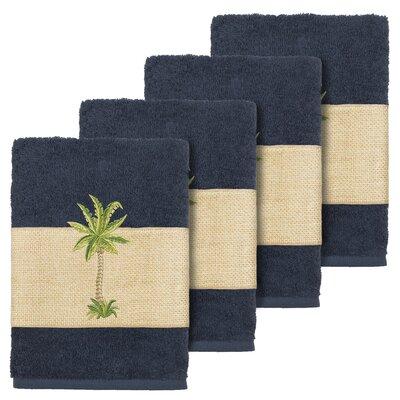 Mcleod 100% Turkish Cotton Embellished Washcloth Color: Midnight Blue
