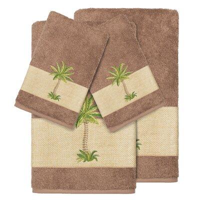 Mcleod 100% Turkish Cotton Embellished 4 Piece Towel Set Color: Latte