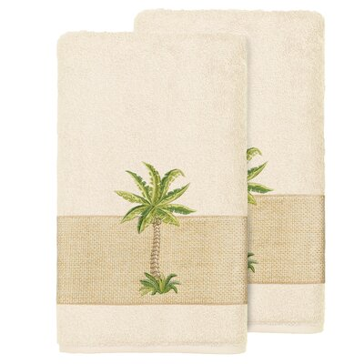 Mcleod 100% Turkish Cotton Embellished Bath Towel Color: Cream