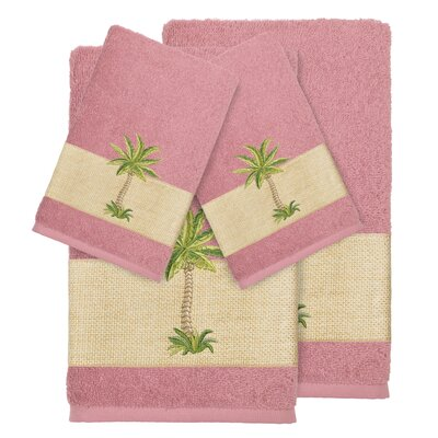 Mcleod 100% Turkish Cotton Embellished 4 Piece Towel Set Color: Tea Rose
