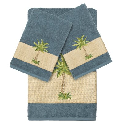 Mcleod 100% Turkish Cotton Embellished 3 Piece Towel Set Color: Teal