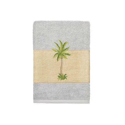 Mcleod 100% Turkish Cotton Embellished Washcloth Color: Light Gray