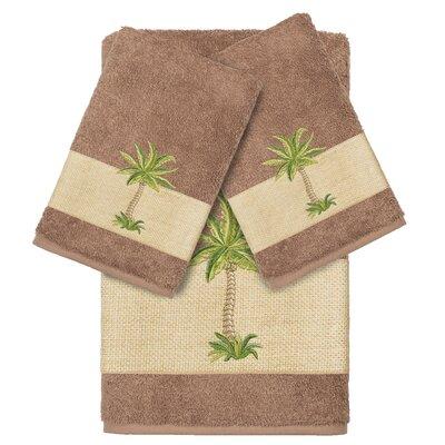 Mcleod 100% Turkish Cotton Embellished 3 Piece Towel Set Color: Latte