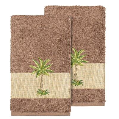 Mcleod 100% Turkish Cotton Embellished Hand Towel Color: Latte