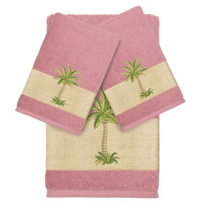 Mcleod 100% Turkish Cotton Embellished 3 Piece Towel Set Color: Tea Rose