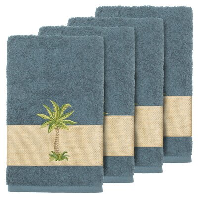 Mcleod 100% Turkish Cotton Embellished Hand Towel Color: Teal