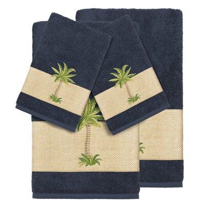 Mcleod 100% Turkish Cotton Embellished 4 Piece Towel Set Color: Midnight Blue