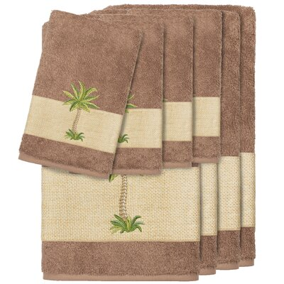 Krupa 100% Turkish Cotton Embellished 8 Piece Towel Set Color: Latte