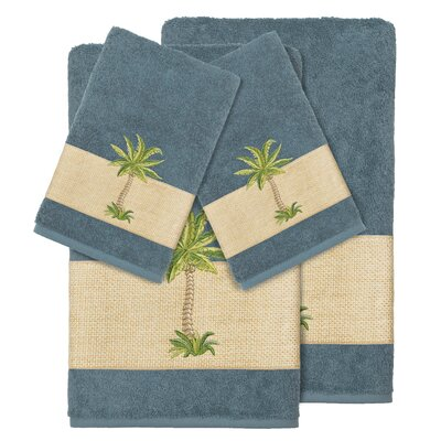 Mcleod 100% Turkish Cotton Embellished 4 Piece Towel Set Color: Teal