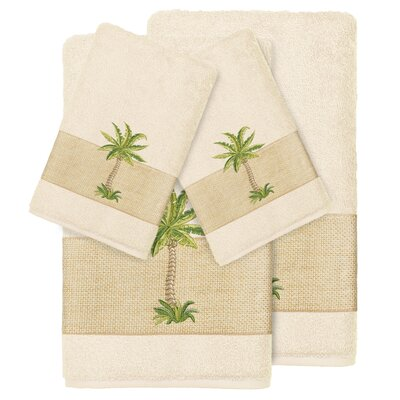 Mcleod 100% Turkish Cotton Embellished 4 Piece Towel Set Color: Cream