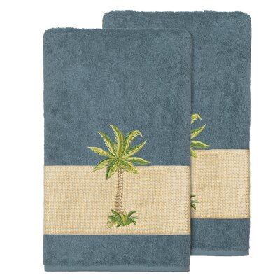 Mcleod 100% Turkish Cotton Embellished Bath Towel Color: Teal