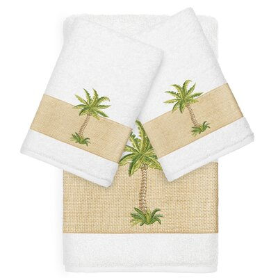 Mcleod 100% Turkish Cotton Embellished 3 Piece Towel Set Color: White