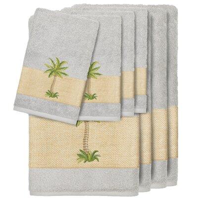 Krupa 100% Turkish Cotton Embellished 8 Piece Towel Set Color: Light Gray