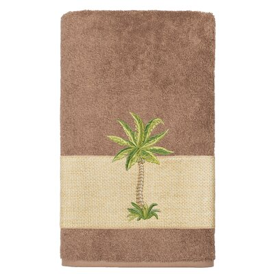 Mcleod 100% Turkish Cotton Embellished Bath Towel Color: Latte