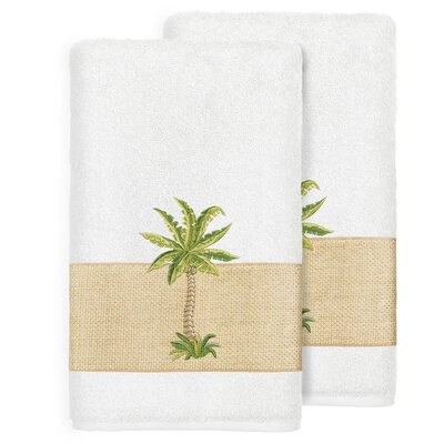 Mcleod 100% Turkish Cotton Embellished Bath Towel Color: White
