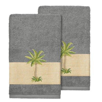 Mcleod 100% Turkish Cotton Embellished Hand Towel Color: Dark Gray