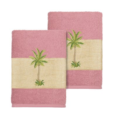 Mcleod 100% Turkish Cotton Embellished Washcloth Color: Tea Rose