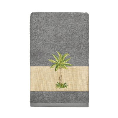 Mcleod 100% Turkish Cotton Embellished Hand Towel Color: Dark Gray