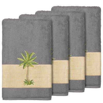 Krupa 100% Turkish Cotton Embellished Bath Towel Color: Dark Gray