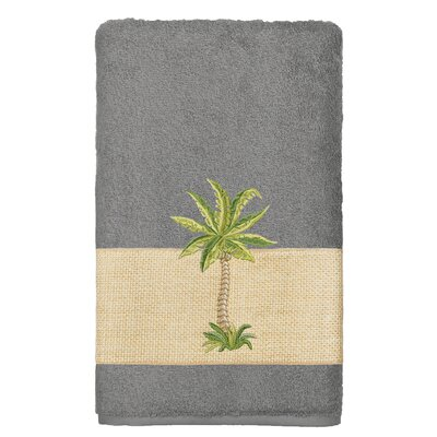 Mcleod 100% Turkish Cotton Embellished Bath Towel Color: Dark Gray