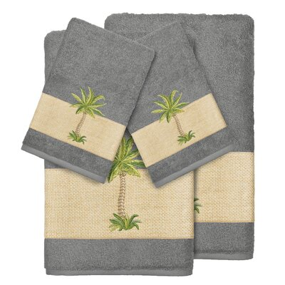 Mcleod 100% Turkish Cotton Embellished 4 Piece Towel Set Color: Dark Gray