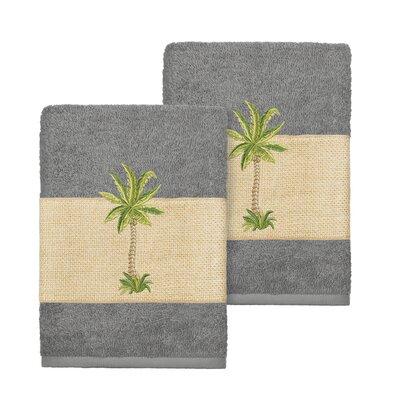 Mcleod 100% Turkish Cotton Embellished Washcloth Color: Dark Gray