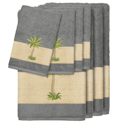 Krupa 100% Turkish Cotton Embellished 8 Piece Towel Set Color: Dark Gray