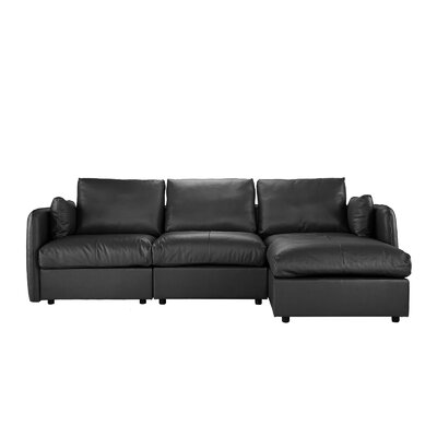 Kircher Leather Sectional Upholstery : Black