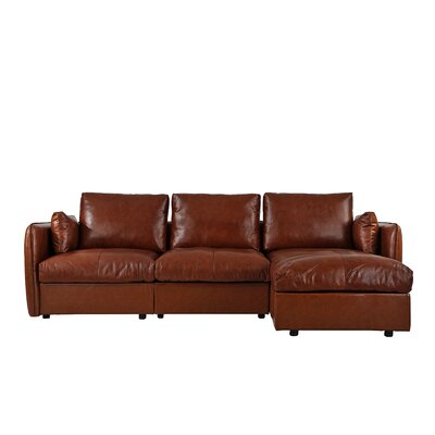 Kircher Leather Sectional Upholstery : Light Brown