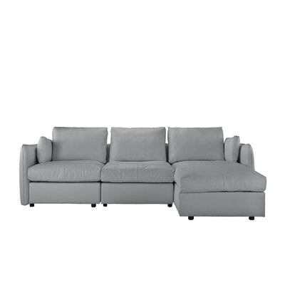 Kircher Leather Sectional Upholstery : Light Gray