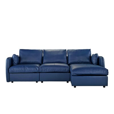 Kircher Leather Sectional Upholstery : Navy