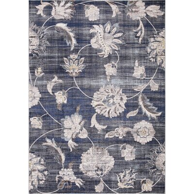Reames Petals Navy Area Rug Rug Size: Rectangle 53 x 73