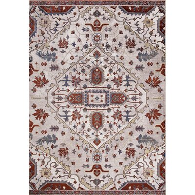 Pleasant Avenue Medallion Beige/Red Area Rug Rug Size: Rectangle 67 x 93
