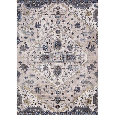 Pleasant Avenue Medallion Ivory Area Rug Rug Size: Rectangle 93 x 123