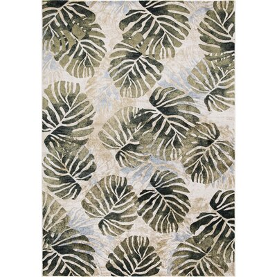 Skeen Tropical Ivory Area Rug Rug Size: Rectangle 93 x 123