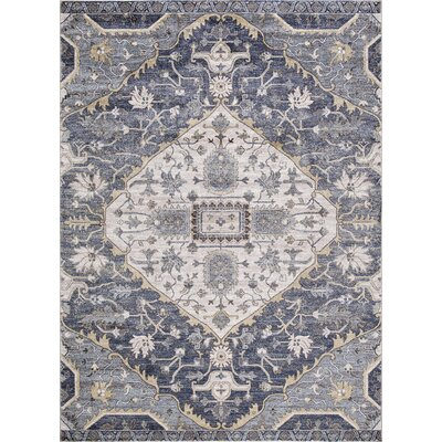 Pleasant Avenue Medallion Blue Area Rug Rug Size: Rectangle 67 x 93