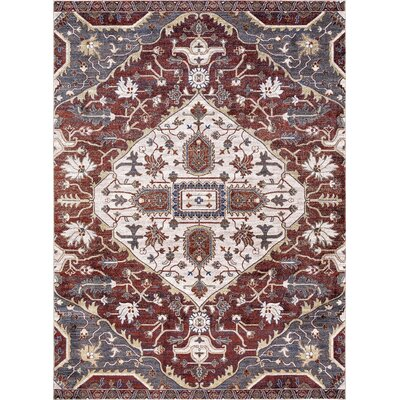 Olympus Medallion Red Area Rug Rug Size: Rectangle 53 x 73