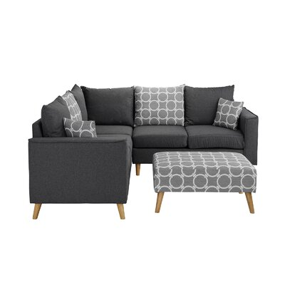 Gayden Sectional with Ottoman Upholstery: Linen Gray