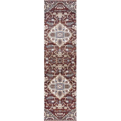 Olympus Medallion Red Area Rug Rug Size: Runner  2 x 73