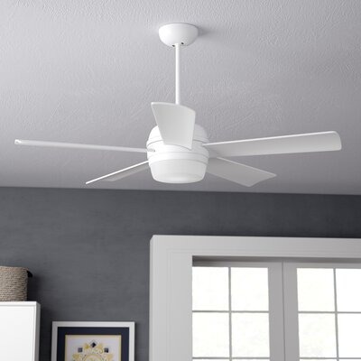 52 Argelia 5 Blade LED Ceiling Fan Finish: Appliance White with White Glass Blades