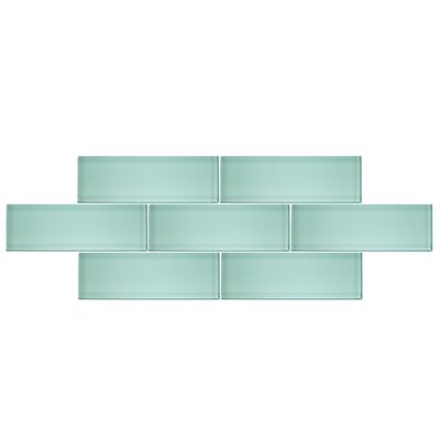 4 x 12 Glass Subway Tile in Spring Blue