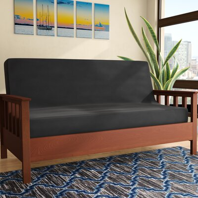 Futon Slipcover Size: Full, Upholstery: Twill Black, Futon Mattress Thickness: 6 - 8