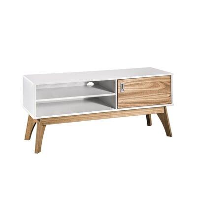 """Tebikerei 43"""" TV Stand Color: White/Natural Wood 6F94223B0D3B43C291FEC1EC89252F1E"""