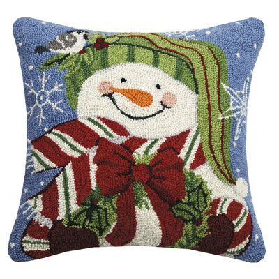 Maspeth Snowman with Wreath Wool Throw Pillow