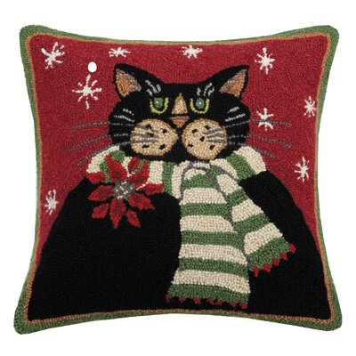Massie Holiday Cat with Scarf Wool Throw Pillow