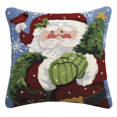 Massenburg Santa with Wreath Wool Throw Pillow