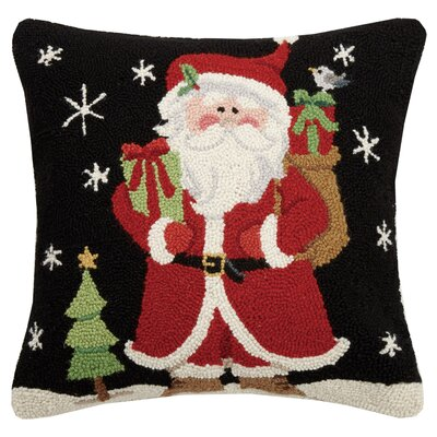 Massenburg Santa with Presents Wool Throw Pillow