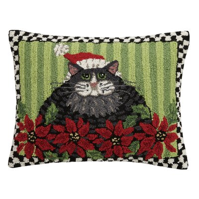 Massie Holiday Cat with Poinsettia Wool Lumbar Pillow