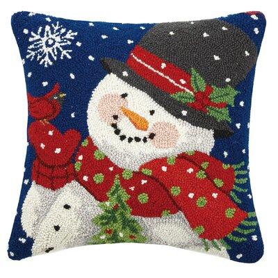 Masse Mitten Snowman with Cardinal Wool Throw Pillow