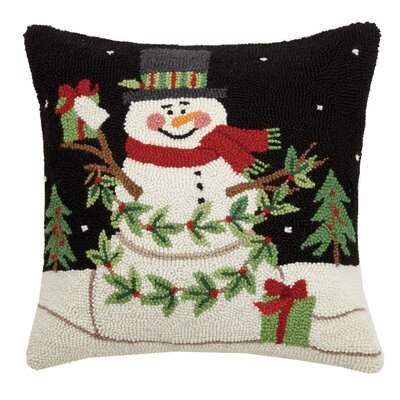 Maspeth Snowman with Presents Wool Throw Pillow